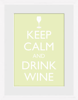 Keep Calm - Wine (White) Framed poster