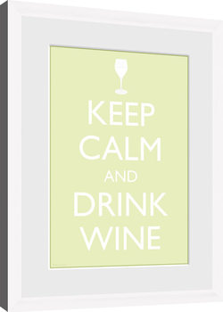 Keep Calm - Wine (White) Framed poster
