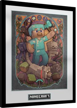 Framed poster Minecraft - Steve Nouveau