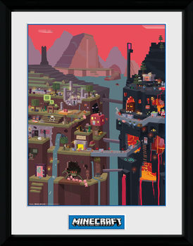 Framed poster Minecraft - World