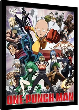 Framed poster One Punch Man - Heroes And Villains