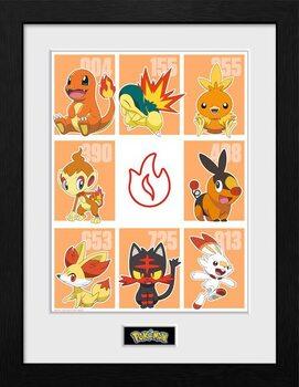 Framed poster Pokemon - First Partner Fire