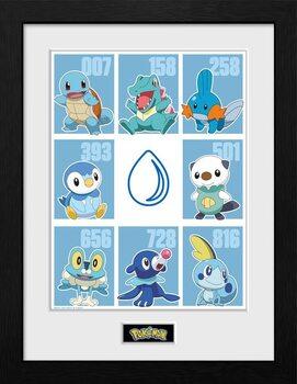 Framed poster Pokemon - First Partner Water