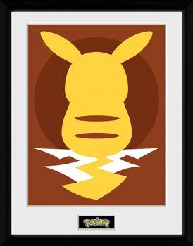Framed poster Pokemon - Pikachu Silho 25