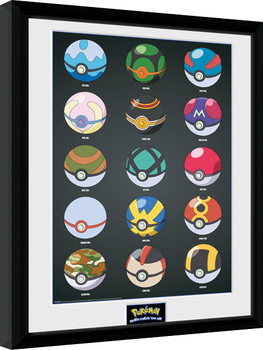Framed poster Pokemon - Pokeballs