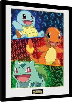 Framed poster Pokemon - Starters Glow