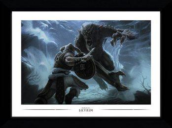 Skyrim - Troll Fight Framed poster