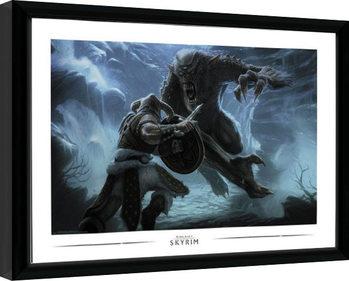 Framed poster Skyrim - Troll Fight