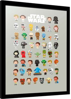 Framed poster Star Wars - 8-Bit Characters