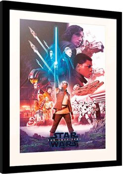 Framed poster Star Wars: Episode VIII - The Last of the Jedi - Blue Saber