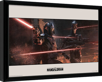 Framed poster Star Wars: The Mandalorian - Battle