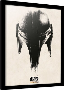 Framed poster Star Wars: The Mandalorian - Helmet