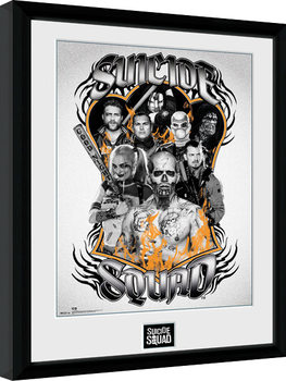 Framed poster Suicide Squad - Group Orange Flame