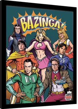Framed poster The Big Bang Theory - Superheroes