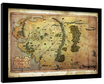The Hobbit - Middle Earth Map Framed poster