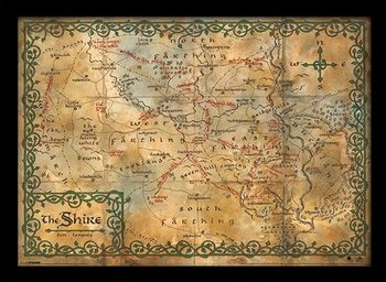 The Hobbit - The Shire Map Framed poster