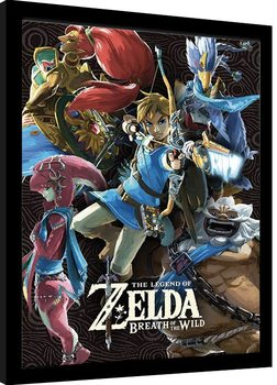 Framed poster The Legend Of Zelda: Breath Of The Wild - Divine Beasts Collage