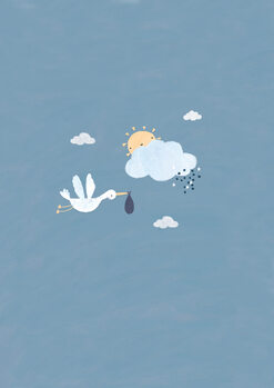 Illustration Baby boy stork