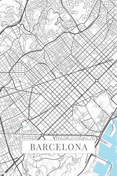 Map Barcelona white