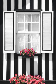 Art Print on Demand Black and White Striped Window