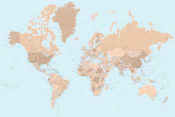 Illustration Blue and brown detailed world map with cities
