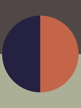 Illustration Blue orange sun