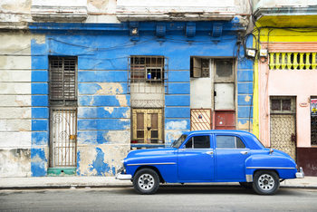 Art Print on Demand Blue Vintage American Car in Havana