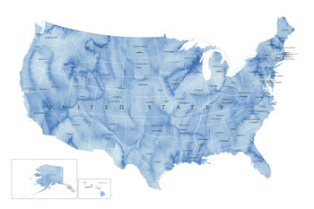 Map Blue watercolor map of the US with state capitals