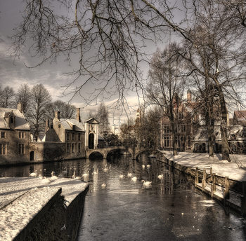 Art Print on Demand Bruges in Christmas dress