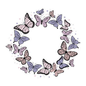 Illustration Butterfly wreath