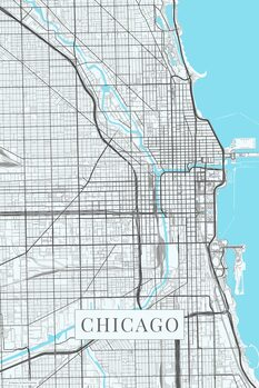 Map of Chicago white