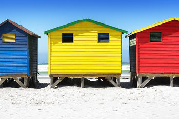 Art Print on Demand Colorful Beach Huts