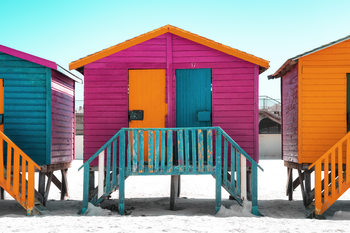 "Art Print on Demand Colorful Houses ""Seven"" Rasberry"