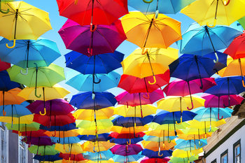 Art Print on Demand Colourful Umbrellas