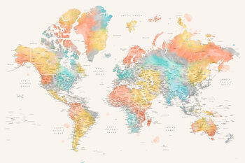 Illustration Detailed colorful watercolor world map, Fifi