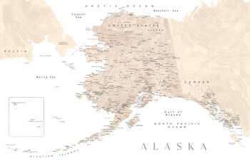 Map Detailed map of Alaska in neutral watercolor