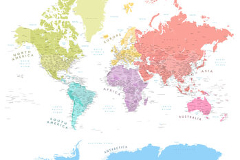 Illustration Detailed world map with continents in pastels