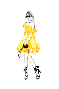 Illustration Fashion illustration yellow summer dress