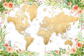 Illustration Floral bohemian world map with cities, Blythe