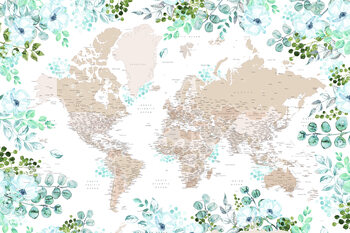 Illustration Floral bohemian world map with cities, Leanne