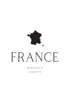 Illustration France map and coordinates