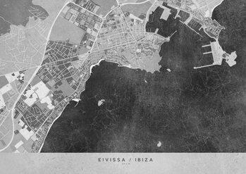 Map Gray vintage map of Ibiza