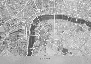 Map Gray vintage map of London downtown