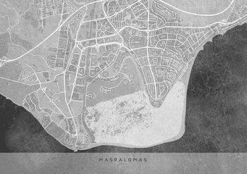 Map Gray vintage map of Maspalomas