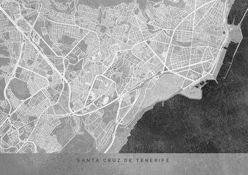 Map Gray vintage map of Santa Cruz de Tenerife