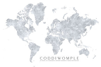 Illustration Grayscale watercolor world map, purposeful travels