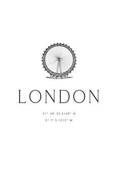 Illustration London coordinates with London Eye