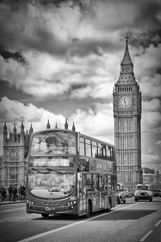 Illustration LONDON Monochrome Houses of Parliament and traffic