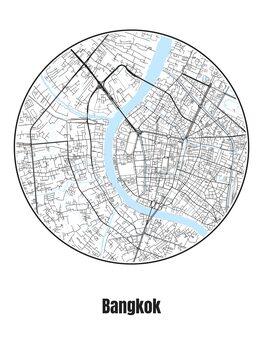 Illustration Map of Bangkok