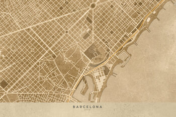 Illustration Map of Barcelona downtown in sepia vintage style